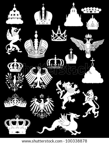 illustration with heraldic symbol isolated on black background