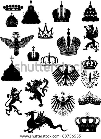 illustration with heraldic symbol isolated on white background