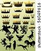 illustration with heraldic symbol on light background - stock vector