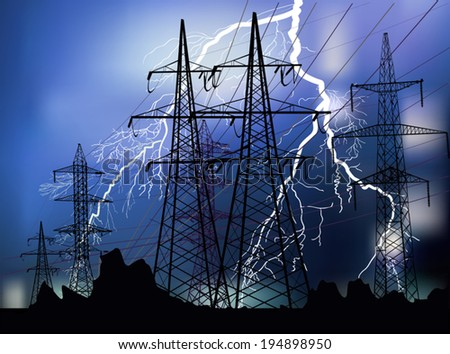 illustration with high voltage line at thunderstorm - stock vector