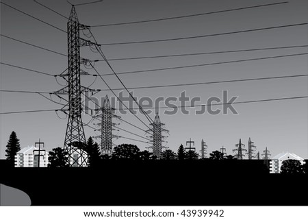 illustration with high-voltage line landscape