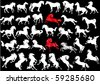 illustration with horse silhouettes collection isolated on white background - stock vector