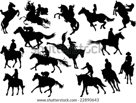 illustration with horsemen silhouettes on white background