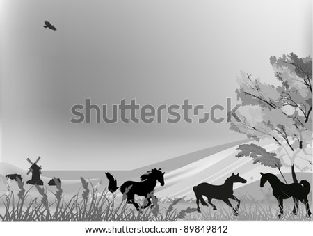 illustration with horses in country landscape