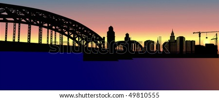 illustration with house building and bridge - stock vector
