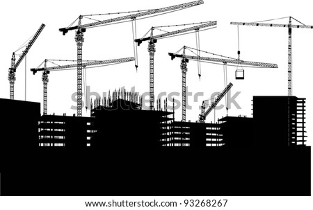 illustration with house building and cranes - stock vector