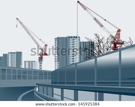 illustration with house building and red cranes