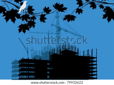 illustration with house building between branches - stock vector