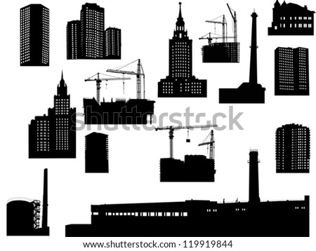 illustration with house silhouettes isolated on white background - stock vector