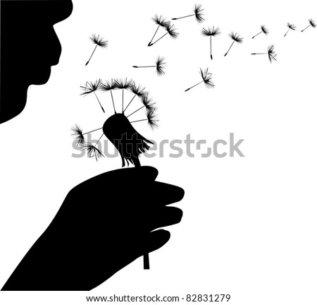 illustration with human blowing on dandelion - stock vector
