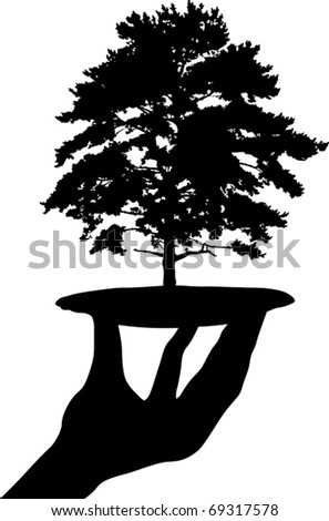 illustration with human hand and tree