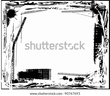 illustration with industrial frame on white background