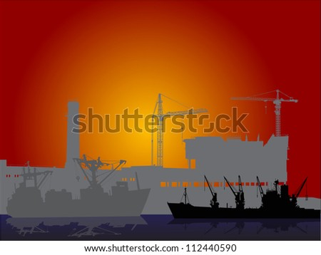 illustration with industrial ships and new city building
