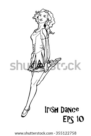illustration with irish dancer; hand drawn girl