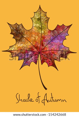 Illustration with isolated autumn maple leaf made of colorful mosaic - stock vector