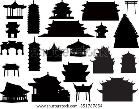 illustration with isolated pagoda collection - stock vector