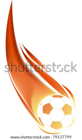 illustration with isolated soccer ball in flame - stock vector