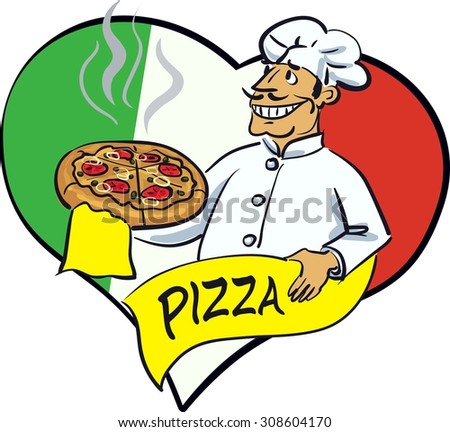 Illustration with italian cook and hot pizza on background of heart with Italian flag colors.Hand drawn artwork. Concept for cards, tickets, branding, logo, label, background.