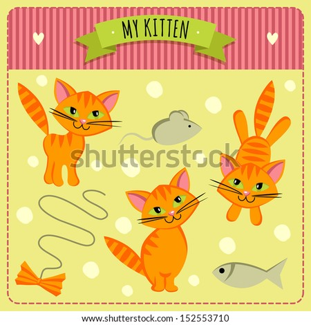 Illustration with kittens and accessories