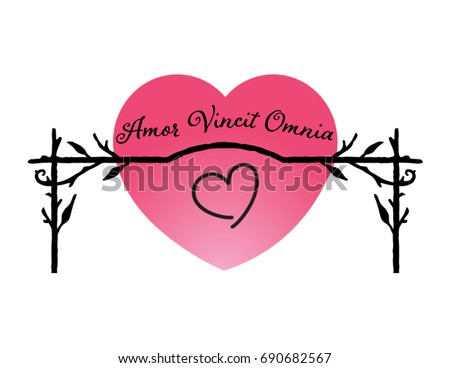 illustration with Latin phrase: amor vincit omnia (love conquers all)