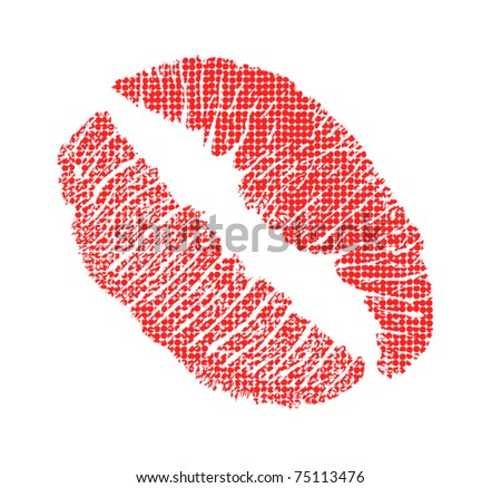 illustration with lips imprint in pop-art style - stock vector