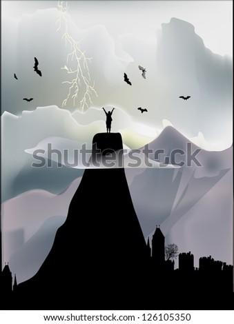illustration with man on mountain summit - stock vector