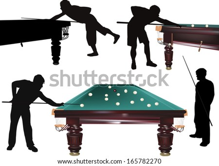 illustration with men playing billiards isolated on white background - stock vector