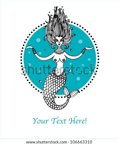 illustration with mermaid - stock vector