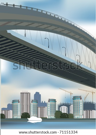 illustration with modern city and bridge - stock vector