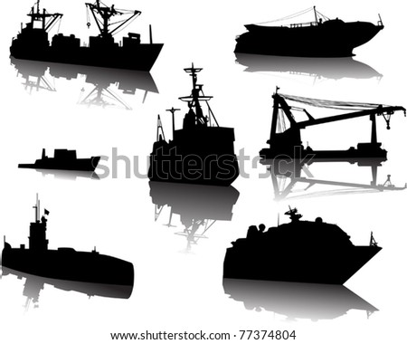 illustration with modern ships isolated on white background - stock vector