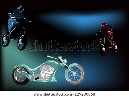 illustration with motorcycles on dark background