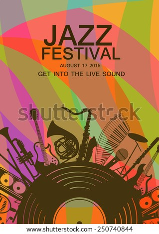 Illustration with musical instruments and vinyl record. Music concept. Musical creative invitation - stock vector