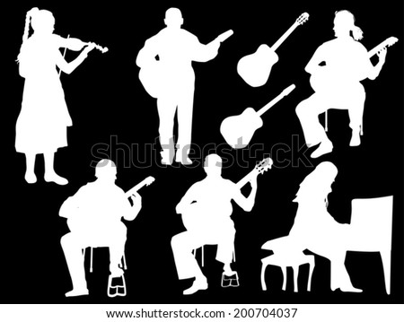 illustration with musicians isolated on black background