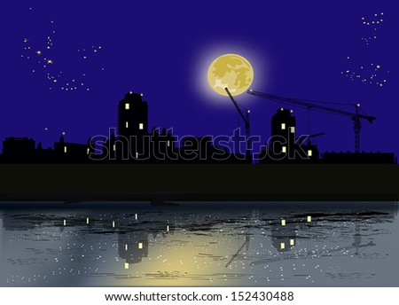 illustration with night city under full yellow moon