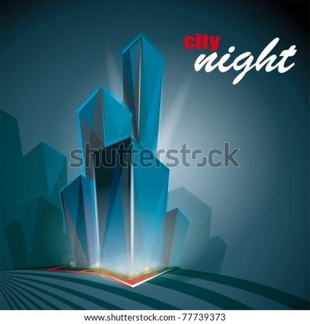 illustration with night cityscape. eps10 - stock vector