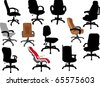 illustration with office chairs isolated on white background - stock vector
