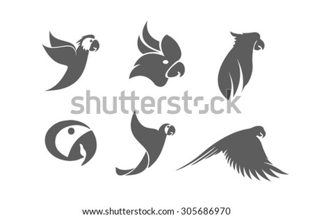 illustration with parrot silhouettes collection isolated on white background - stock vector