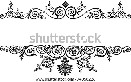 illustration with patterned strips isolated on white background - stock vector