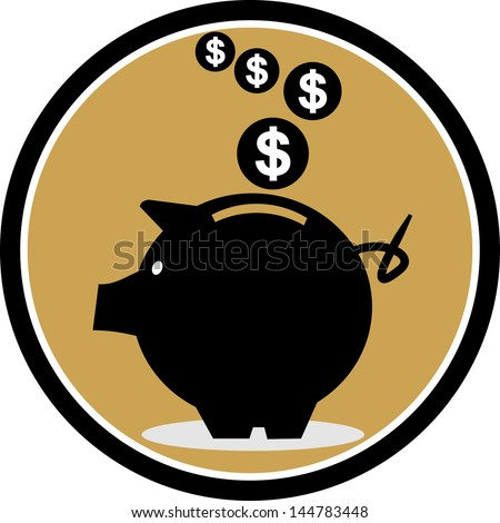 illustration with piggy bank - stock vector