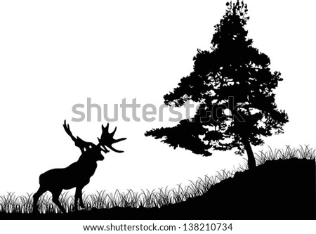 illustration with pine and deer silhouettes - stock vector