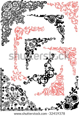 illustration with pink and black corners isolated on white background - stock vector