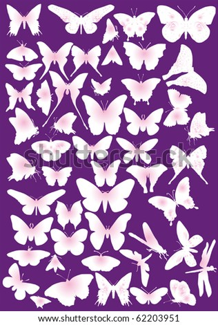 illustration with pink butterfly silhouettes collection - stock vector