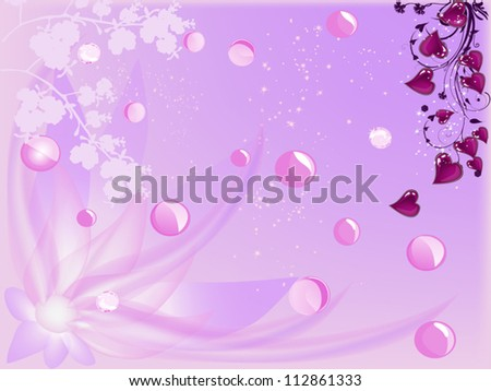 illustration with pink floral decorated background