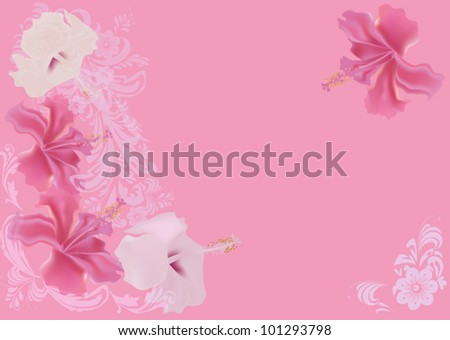 illustration with pink flower background