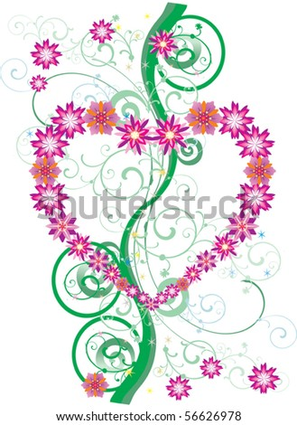 illustration with pink flower heart and green curls