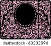 illustration with pink oval frame - stock vector