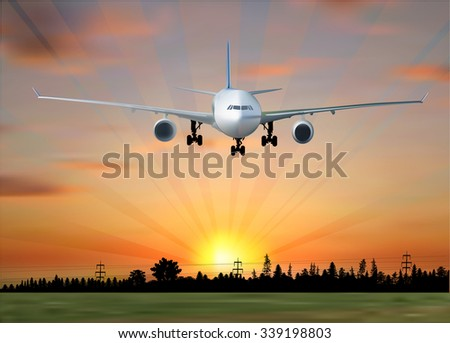 illustration with plane at sunset above green field