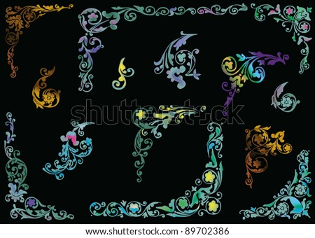 illustration with plant curl corners collection on black background - stock vector