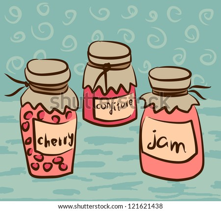 illustration with pots of the jam - stock vector