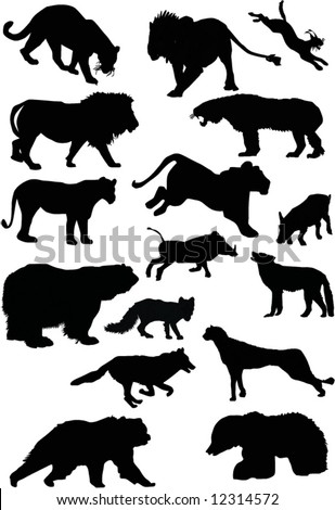 illustration with predator silhouettes collection isolated on white background - stock vector
